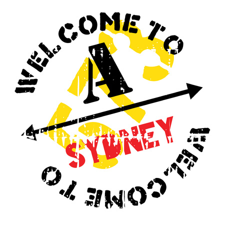 Sydney stamp. Grunge design with dust scratches. Effects can be easily removed for a clean, crisp look. Color is easily changed. rubber grunge Illustration