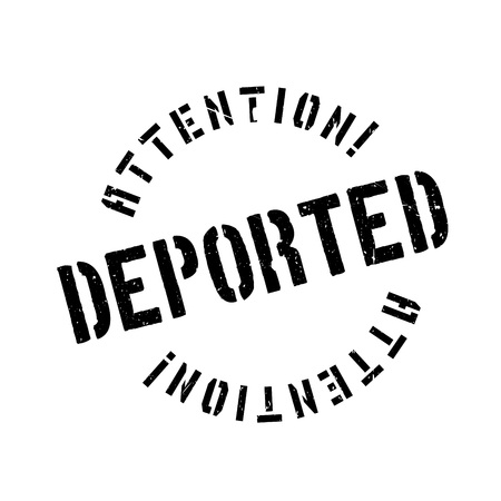 expel: Deported rubber stamp. Grunge design with dust scratches. Effects can be easily removed for a clean, crisp look. Color is easily changed.