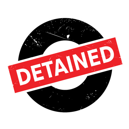 incarcerated: Detained rubber stamp. Grunge design with dust scratches. Effects can be easily removed for a clean, crisp look. Color is easily changed.