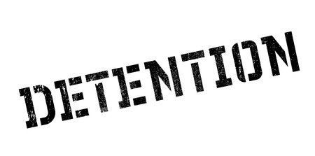 detention: Detention rubber stamp. Grunge design with dust scratches. Effects can be easily removed for a clean, crisp look. Color is easily changed.