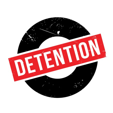 detain: Detention rubber stamp. Grunge design with dust scratches. Effects can be easily removed for a clean, crisp look. Color is easily changed.