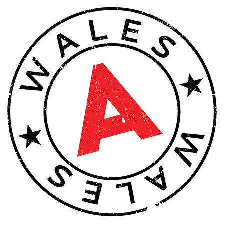 Wales stamp. Grunge design with dust scratches. Effects can be easily removed for a clean, crisp look. Color is easily changed. rubber grunge