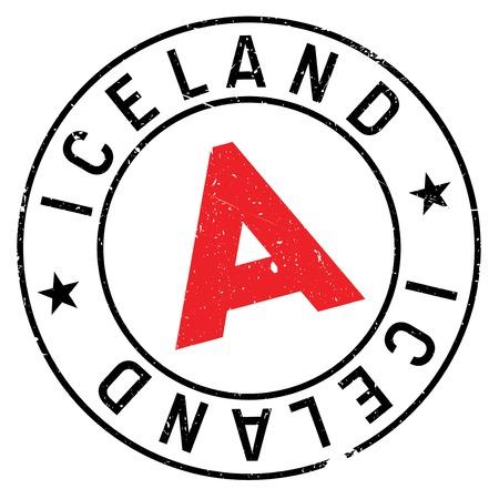 scandinavia: Iceland stamp rubber grunge Illustration