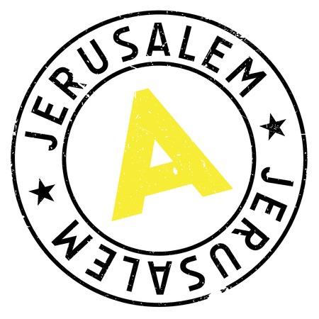Jerusalem stamp. Grunge design with dust scratches. Effects can be easily removed for a clean, crisp look. Color is easily changed. rubber grunge Illustration