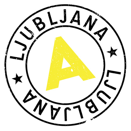 Ljubljana stamp. Grunge design with dust scratches. Effects can be easily removed for a clean, crisp look. Color is easily changed. rubber grunge