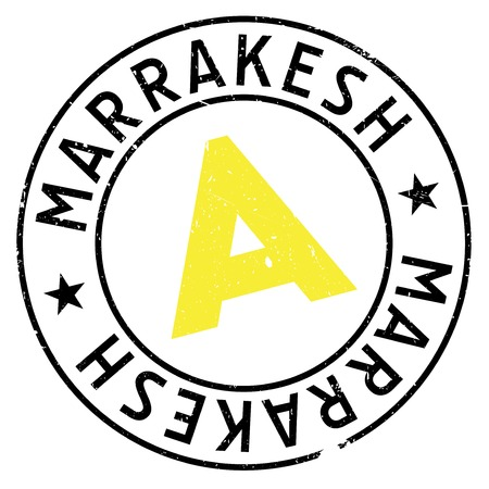 continente africano: Marrakesh stamp. Grunge design with dust scratches. Effects can be easily removed for a clean, crisp look. Color is easily changed. rubber grunge