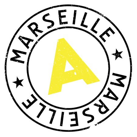 Marseille stamp. Grunge design with dust scratches. Effects can be easily removed for a clean, crisp look. Color is easily changed. rubber grunge