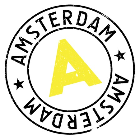 Amsterdam stamp. Grunge design with dust scratches. Effects can be easily removed for a clean, crisp look. Color is easily changed.
