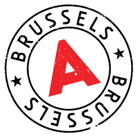 Brussels stamp. Grunge design with dust scratches. Effects can be easily removed for a clean, crisp look. Color is easily changed.