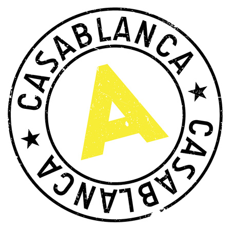 Casablanca stamp. Grunge design with dust scratches. Effects can be easily removed for a clean, crisp look. Color is easily changed.