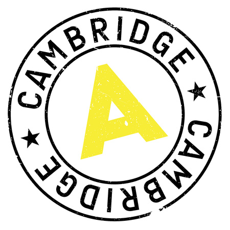 uni: Cambridge stamp. Grunge design with dust scratches. Effects can be easily removed for a clean, crisp look. Color is easily changed. Illustration