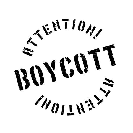 obstruction: Boycott rubber stamp. Grunge design with dust scratches. Effects can be easily removed for a clean, crisp look. Color is easily changed.