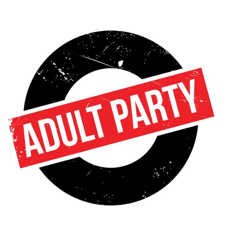 conviviality: Adult Party rubber stamp. Grunge design with dust scratches. Effects can be easily removed for a clean, crisp look. Color is easily changed.