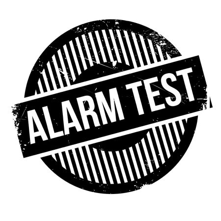 Alarm Test rubber stamp. Grunge design with dust scratches. Effects can be easily removed for a clean, crisp look. Color is easily changed.