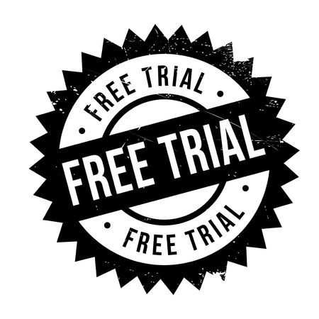 Free trial rubber stamp. Grunge design with dust scratches. Effects can be easily removed for a clean, crisp look. Color is easily changed. Illustration