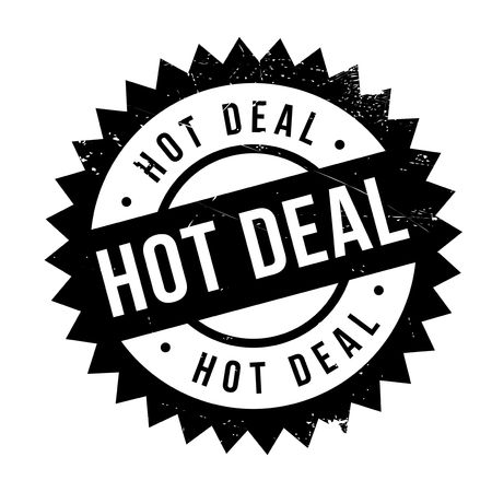 Hot deal stamp. Grunge design with dust scratches. Effects can be easily removed for a clean, crisp look. Color is easily changed. Illustration