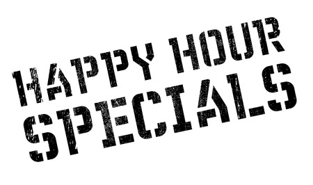 peculiar: Happy hour specials stamp. Grunge design with dust scratches. Effects can be easily removed for a clean, crisp look. Color is easily changed.