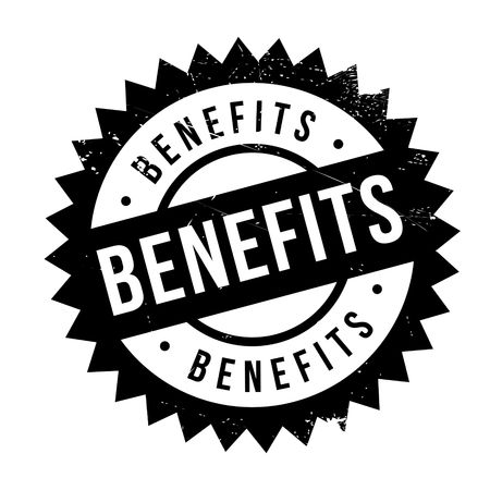 Benefits stamp. Grunge design with dust scratches. Effects can be easily removed for a clean, crisp look. Color is easily changed.