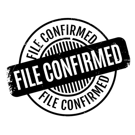settled: File Confirmed rubber stamp. Grunge design with dust scratches. Effects can be easily removed for a clean, crisp look. Color is easily changed. Illustration