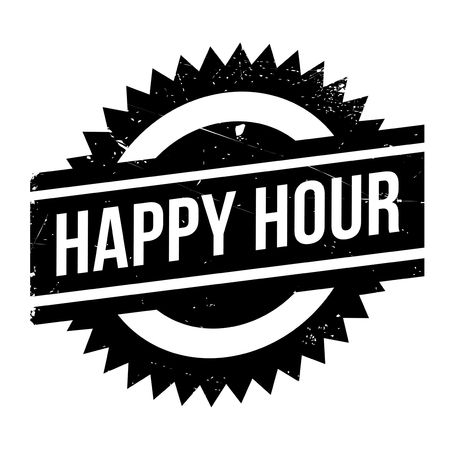 convivial: Happy hour stamp. Grunge design with dust scratches. Effects can be easily removed for a clean, crisp look. Color is easily changed.