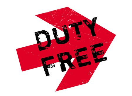 Duty free stamp. Grunge design with dust scratches. Effects can be easily removed for a clean, crisp look. Color is easily changed. Vettoriali