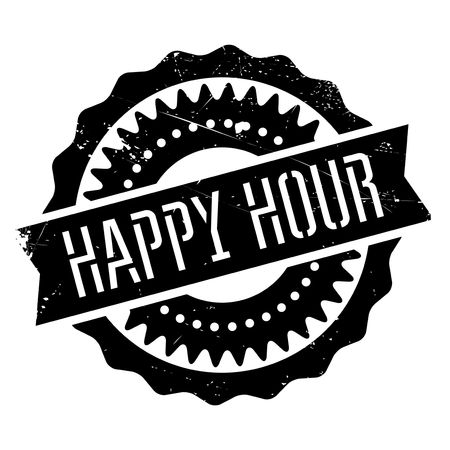 Happy hour stamp. Grunge design with dust scratches. Effects can be easily removed for a clean, crisp look. Color is easily changed.