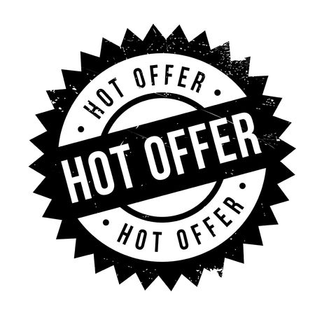 Hot offer stamp. Grunge design with dust scratches. Effects can be easily removed for a clean, crisp look. Color is easily changed. Illustration