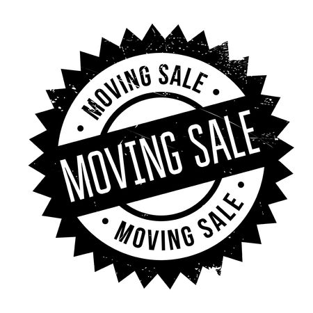 Moving sale stamp. Grunge design with dust scratches. Effects can be easily removed for a clean, crisp look. Color is easily changed.