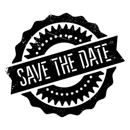 Save the date stamp. Grunge design with dust scratches. Effects can be easily removed for a clean, crisp look. Color is easily changed.