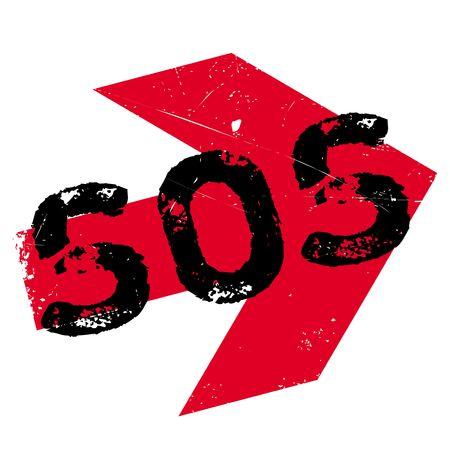 Timbro SOS Design grunge con graffi di polvere. Gli effetti possono essere facilmente rimossi per un look pulito e nitido. Il colore è facilmente modificabile
