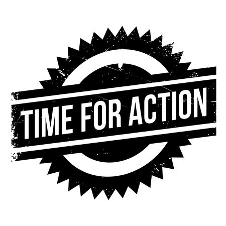 commotion: Time for action stamp. Grunge design with dust scratches. Effects can be easily removed for a clean, crisp look. Color is easily changed.