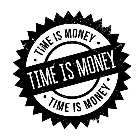 specie: Time is money stamp. Grunge design with dust scratches. Effects can be easily removed for a clean, crisp look. Color is easily changed. Illustration