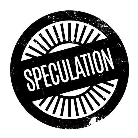 Speculation stamp. Grunge design with dust scratches. Effects can be easily removed for a clean, crisp look. Color is easily changed.