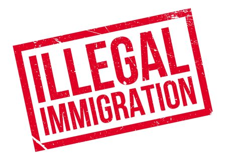 breaking law: Illegal Immigration rubber stamp Illustration