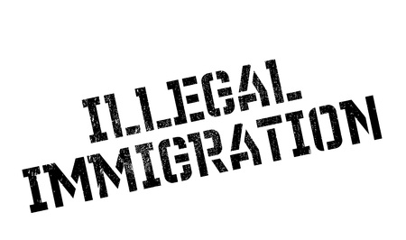 Illegal Immigration rubber stamp Illustration