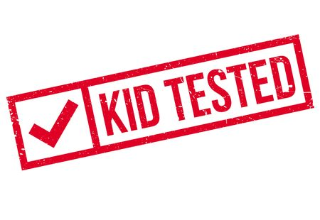 spoof: Kid Tested rubber stamp. Grunge design with dust scratches. Effects can be easily removed for a clean, crisp look. Color is easily changed.