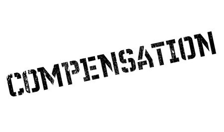 compensated: Compensation rubber stamp. Grunge design with dust scratches. Effects can be easily removed for a clean, crisp look. Color is easily changed.