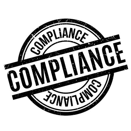 Compliance rubber stamp. Grunge design with dust scratches. Effects can be easily removed for a clean, crisp look. Color is easily changed.