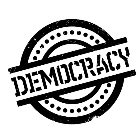 Democracy rubber stamp. Grunge design with dust scratches. Effects can be easily removed for a clean, crisp look. Color is easily changed. Illustration