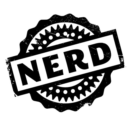 geeky: Nerd rubber stamp Illustration