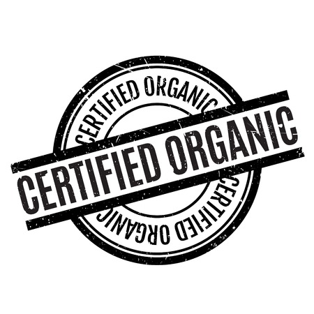 Certified organic rubber stamp. Grunge design with dust scratches. Effects can be easily removed for a clean, crisp look. Color is easily changed. Illustration
