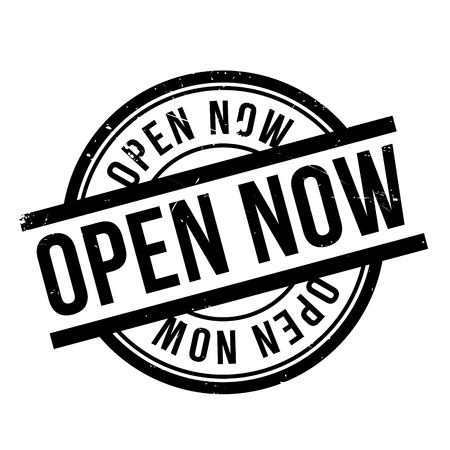 commence: Open Now rubber stamp