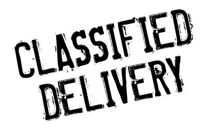 consignment: Classified Delivery rubber stamp. Grunge design with dust scratches. Effects can be easily removed for a clean, crisp look. Color is easily changed.