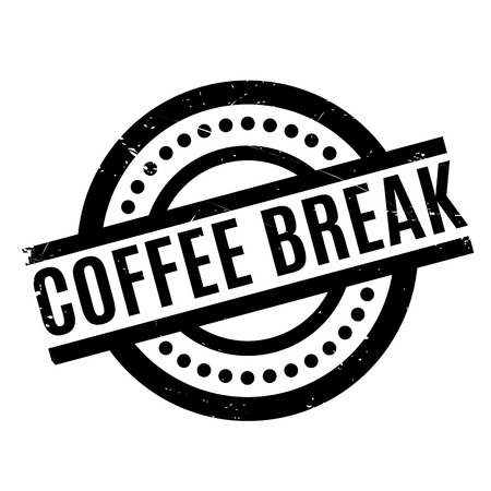 Coffee Break rubber stamp. Grunge design with dust scratches. Effects can be easily removed for a clean, crisp look. Color is easily changed. Banco de Imagens - 68279999