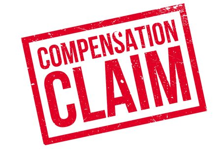 compensated: Compensation Claim rubber stamp. Grunge design with dust scratches. Effects can be easily removed for a clean, crisp look. Color is easily changed.