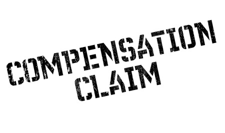 compensate: Compensation Claim rubber stamp. Grunge design with dust scratches. Effects can be easily removed for a clean, crisp look. Color is easily changed.