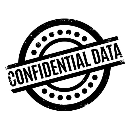 hushed: Confidential Data rubber stamp. Grunge design with dust scratches. Effects can be easily removed for a clean, crisp look. Color is easily changed. Stock Photo