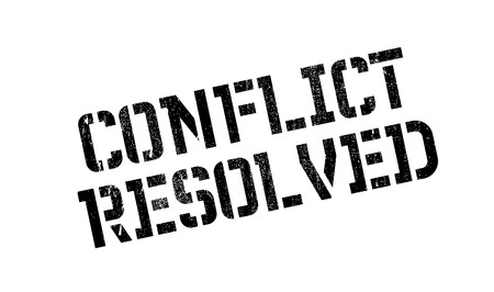 undertake: Conflict Resolved rubber stamp. Grunge design with dust scratches. Effects can be easily removed for a clean, crisp look. Color is easily changed.