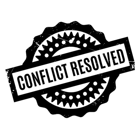 resolved: Conflict Resolved rubber stamp. Grunge design with dust scratches. Effects can be easily removed for a clean, crisp look. Color is easily changed.