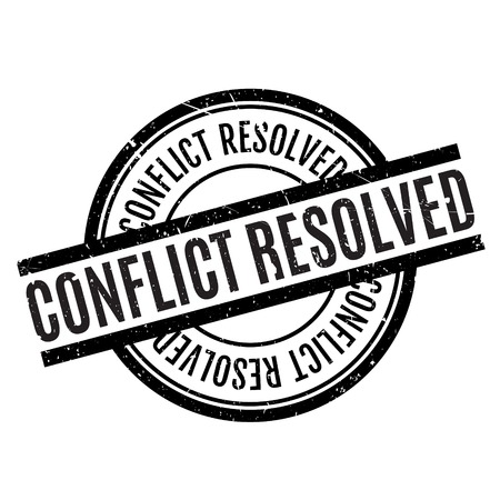 unfold: Conflict Resolved rubber stamp. Grunge design with dust scratches. Effects can be easily removed for a clean, crisp look. Color is easily changed.